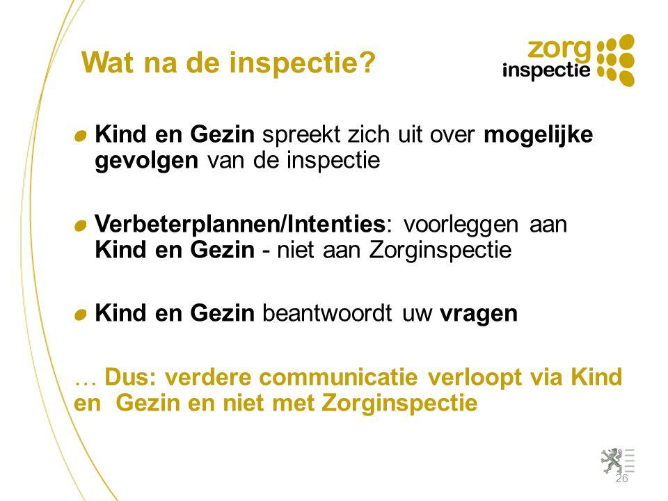 Wat na de inspectie? Kind en Gezin spreekt zich uit over mogelijke gevolgen van de inspectie Verbeterplannen/Intenties: voorleggen aan Kind en Gezin -