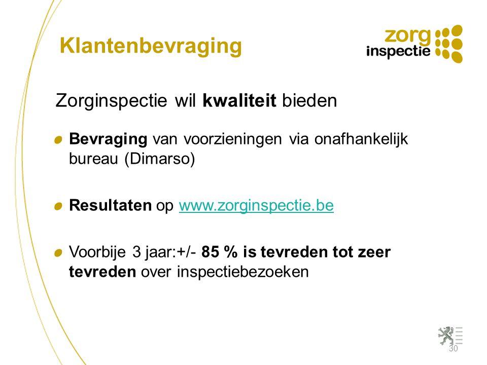 Klantenbevraging Zorginspectie wil kwaliteit bieden Bevraging van voorzieningen via onafhankelijk bureau (Dimarso) Resultaten op www.zorginspectie.bew