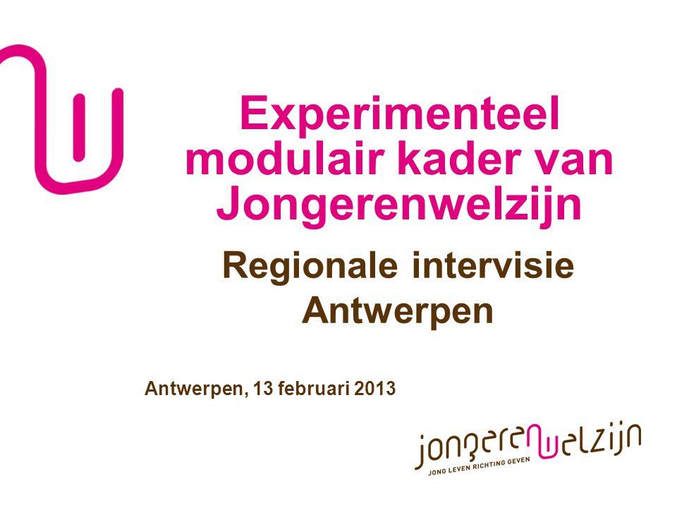 Experimenteel modulair kader van Jongerenwelzijn Regionale intervisie Antwerpen Antwerpen, 13 februari 2013