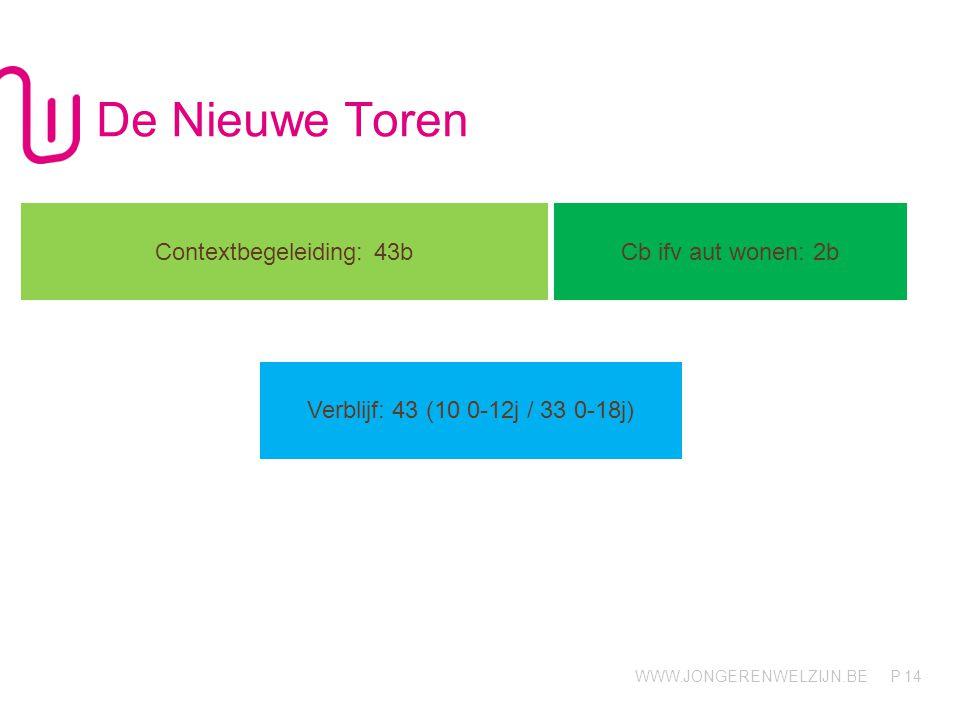 WWW.JONGERENWELZIJN.BE P De Nieuwe Toren 14 Contextbegeleiding: 43b Cb ifv aut wonen: 2b Verblijf: 43 (10 0-12j / 33 0-18j)