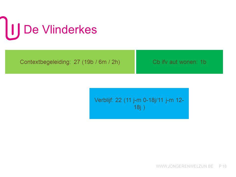 WWW.JONGERENWELZIJN.BE P De Vlinderkes 18 Contextbegeleiding: 27 (19b / 6m / 2h) Cb ifv aut wonen: 1b Verblijf: 22 (11 j-m 0-18j/11 j-m 12- 18j )
