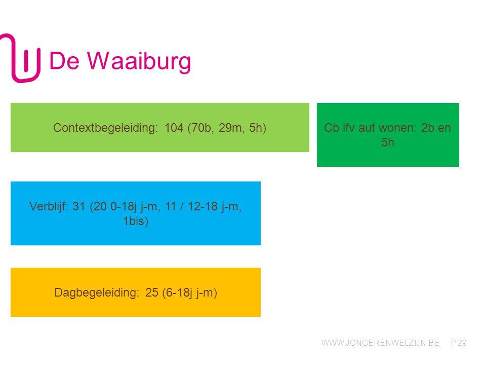 WWW.JONGERENWELZIJN.BE P De Waaiburg 29 Contextbegeleiding: 104 (70b, 29m, 5h) Cb ifv aut wonen: 2b en 5h Verblijf: 31 (20 0-18j j-m, 11 / 12-18 j-m,