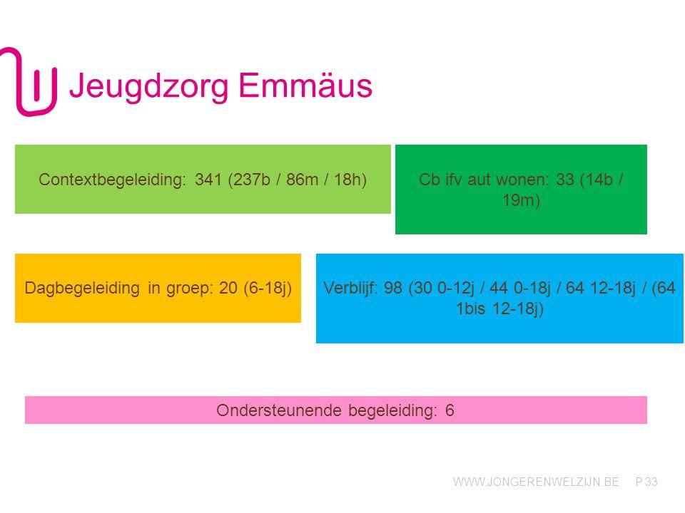 WWW.JONGERENWELZIJN.BE P Jeugdzorg Emmäus 33 Contextbegeleiding: 341 (237b / 86m / 18h) Cb ifv aut wonen: 33 (14b / 19m) Dagbegeleiding in groep: 20 (