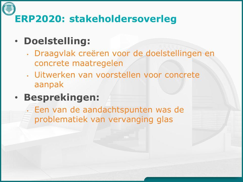 ERP2020: stakeholdersoverleg Doelstelling: Draagvlak creëren voor de doelstellingen en concrete maatregelen Uitwerken van voorstellen voor concrete aanpak Besprekingen: Een van de aandachtspunten was de problematiek van vervanging glas