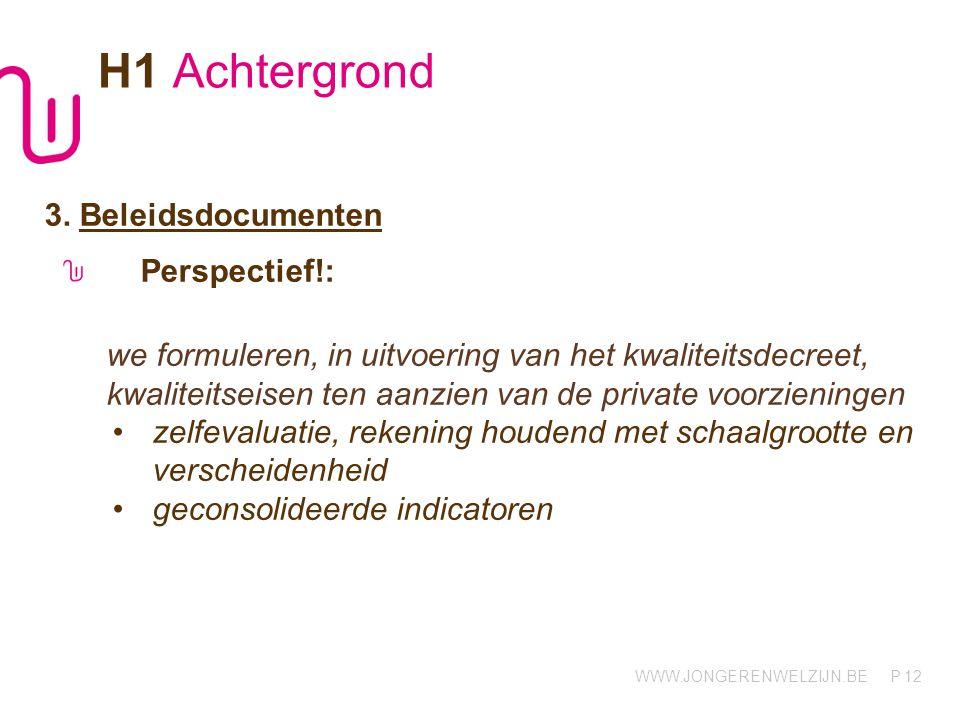 WWW.JONGERENWELZIJN.BE P 12 H1 Achtergrond 3. Beleidsdocumenten Perspectief!: we formuleren, in uitvoering van het kwaliteitsdecreet, kwaliteitseisen