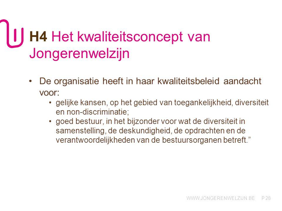 WWW.JONGERENWELZIJN.BE P 28 H4 Het kwaliteitsconcept van Jongerenwelzijn De organisatie heeft in haar kwaliteitsbeleid aandacht voor: gelijke kansen,