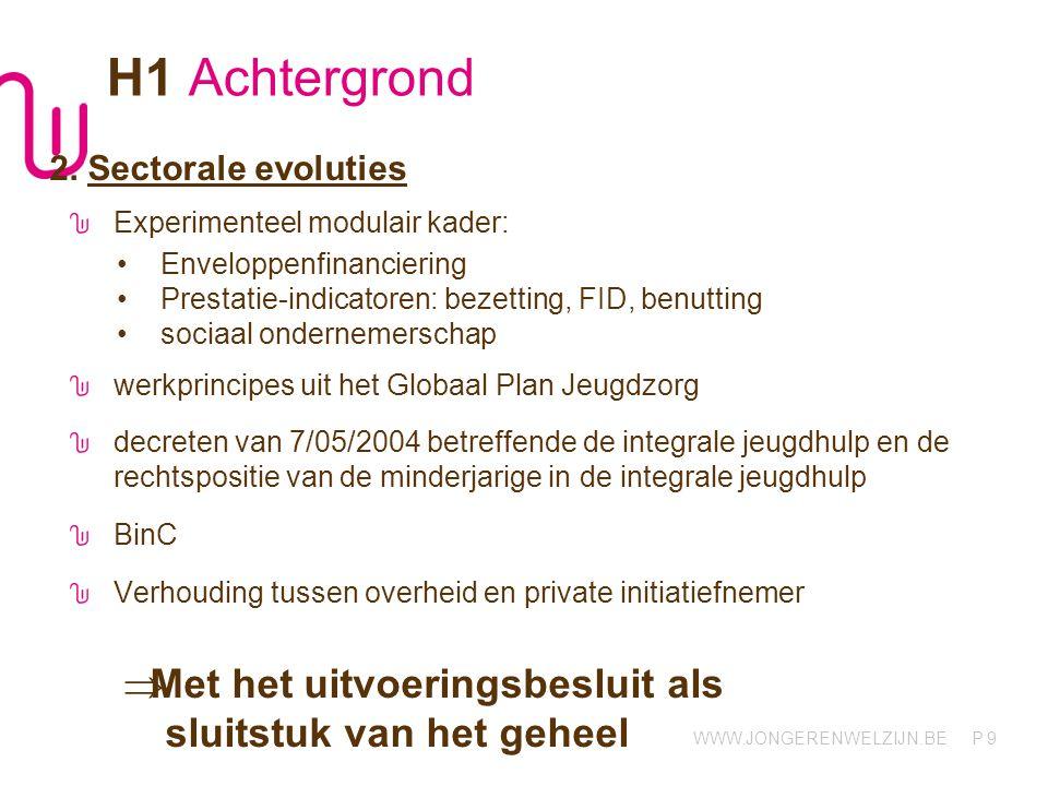 WWW.JONGERENWELZIJN.BE P 9 H1 Achtergrond 2. Sectorale evoluties Experimenteel modulair kader: Enveloppenfinanciering Prestatie-indicatoren: bezetting