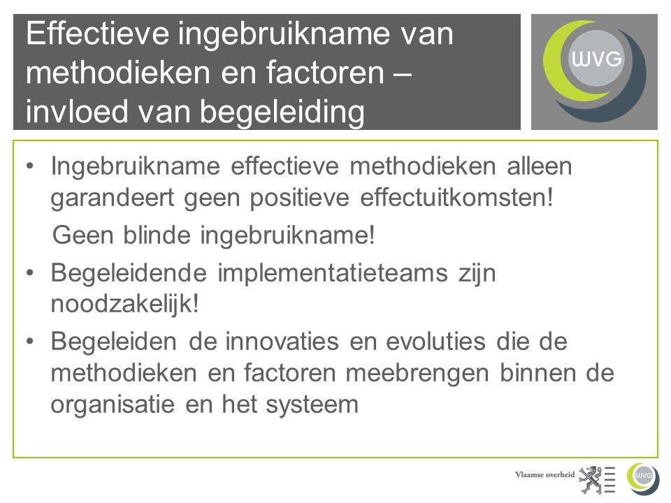 Effectieve ingebruikname van methodieken en factoren – invloed van begeleiding Ingebruikname effectieve methodieken alleen garandeert geen positieve effectuitkomsten.