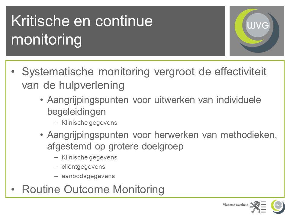 Kritische en continue monitoring Systematische monitoring vergroot de effectiviteit van de hulpverlening Aangrijpingspunten voor uitwerken van individuele begeleidingen –Klinische gegevens Aangrijpingspunten voor herwerken van methodieken, afgestemd op grotere doelgroep –Klinische gegevens –cliëntgegevens –aanbodsgegevens Routine Outcome Monitoring