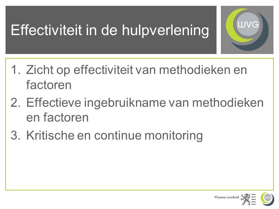 Effectiviteit in de hulpverlening 1.Zicht op effectiviteit van methodieken en factoren 2.Effectieve ingebruikname van methodieken en factoren 3.Kritische en continue monitoring