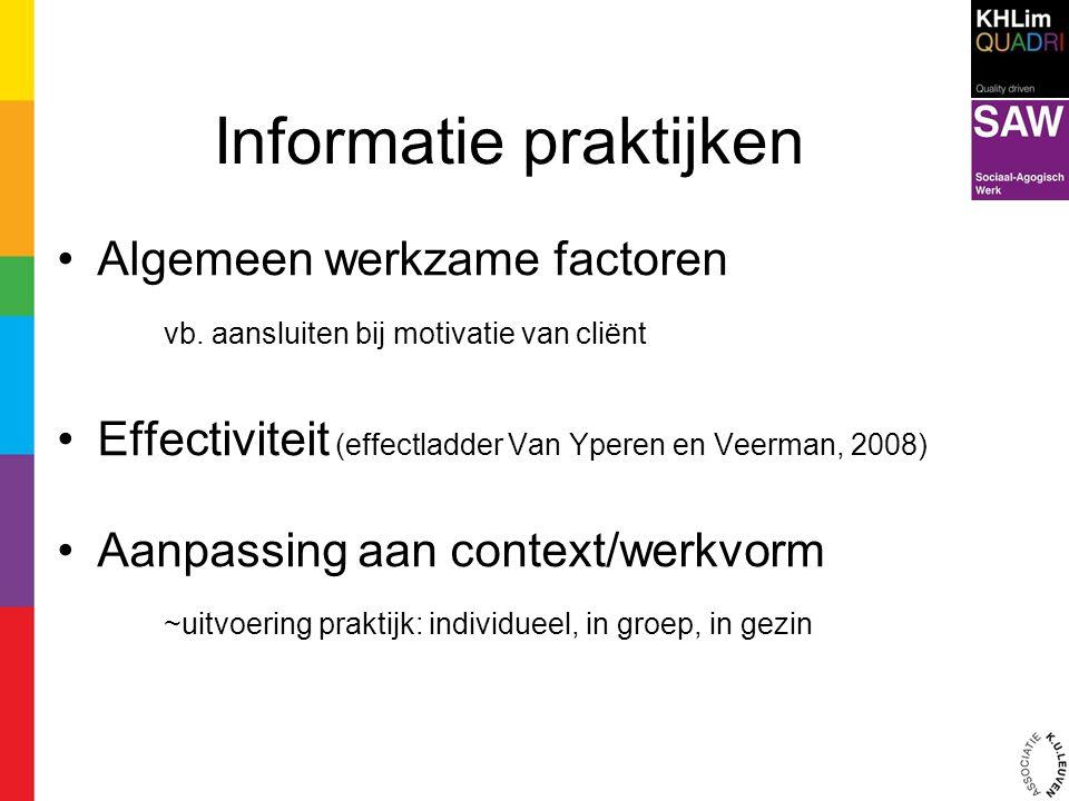 Informatie praktijken Algemeen werkzame factoren vb. aansluiten bij motivatie van cliënt Effectiviteit (effectladder Van Yperen en Veerman, 2008) Aanp