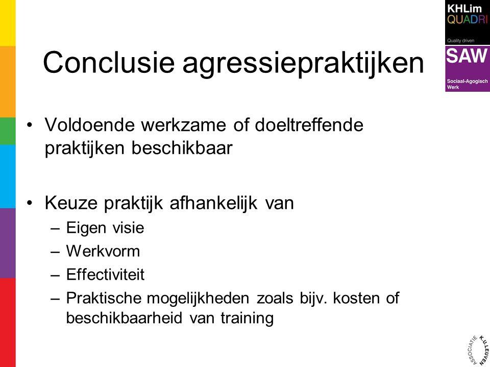 Conclusie agressiepraktijken Voldoende werkzame of doeltreffende praktijken beschikbaar Keuze praktijk afhankelijk van –Eigen visie –Werkvorm –Effecti