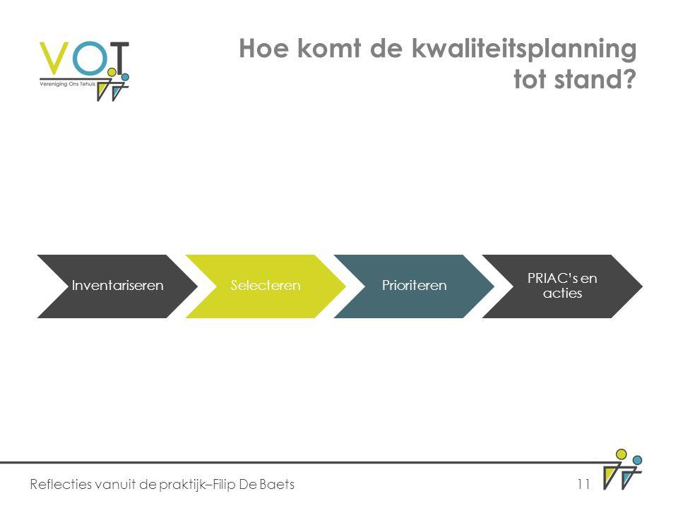 Hoe komt de kwaliteitsplanning tot stand? Reflecties vanuit de praktijk–Filip De Baets11 InventariserenSelecterenPrioriteren PRIAC's en acties