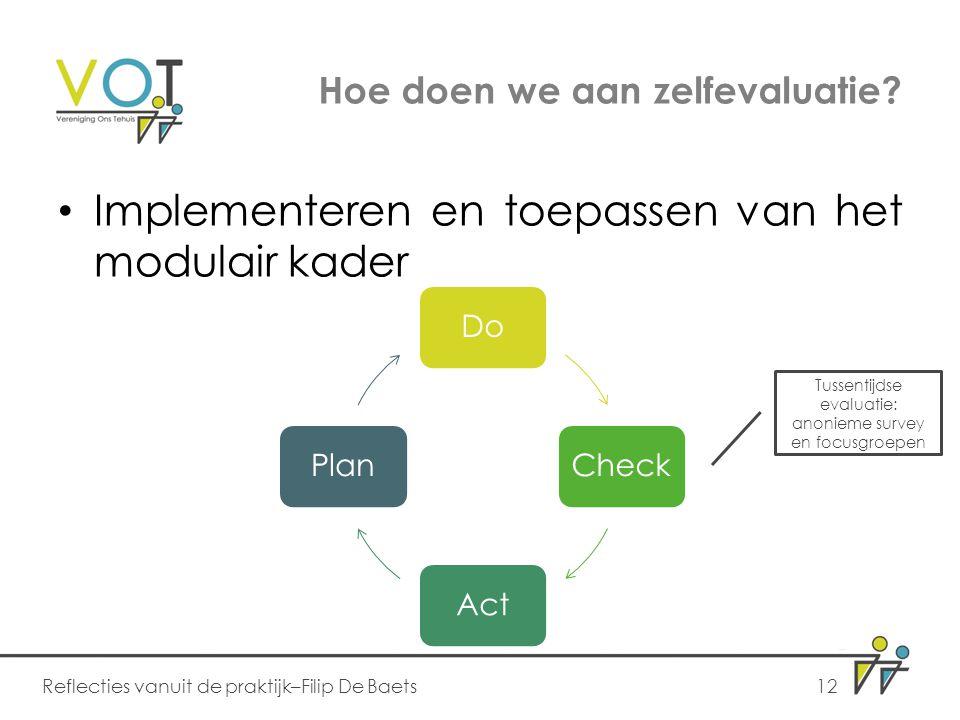 Hoe doen we aan zelfevaluatie? Implementeren en toepassen van het modulair kader Reflecties vanuit de praktijk–Filip De Baets12 DoCheckActPlan Tussent