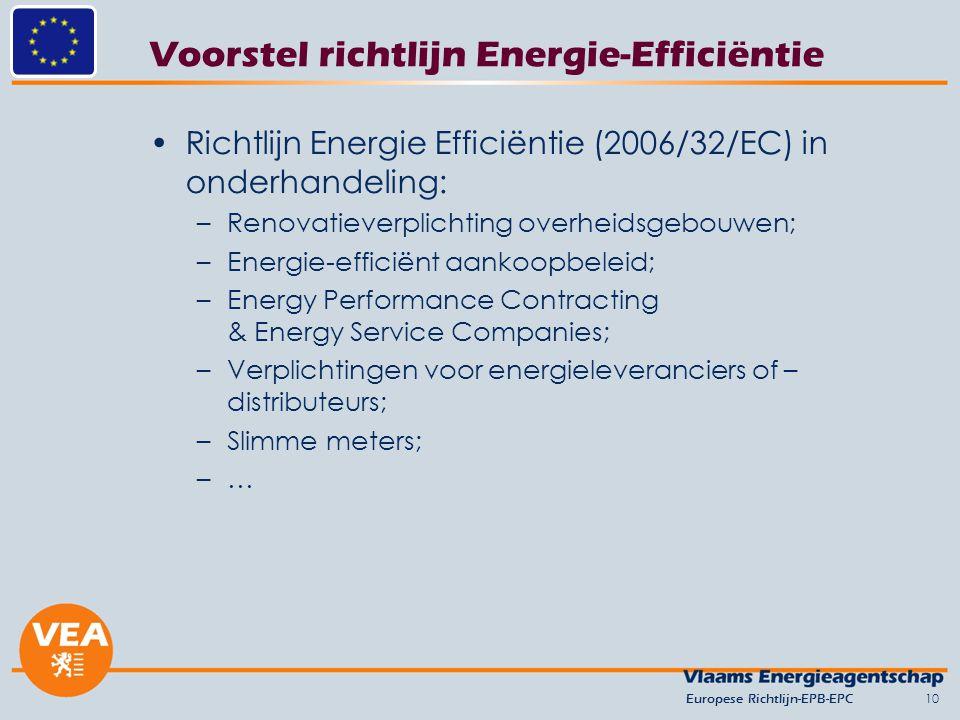 Voorstel richtlijn Energie-Efficiëntie Richtlijn Energie Efficiëntie (2006/32/EC) in onderhandeling: –Renovatieverplichting overheidsgebouwen; –Energie-efficiënt aankoopbeleid; –Energy Performance Contracting & Energy Service Companies; –Verplichtingen voor energieleveranciers of – distributeurs; –Slimme meters; –…–… 10Europese Richtlijn-EPB-EPC