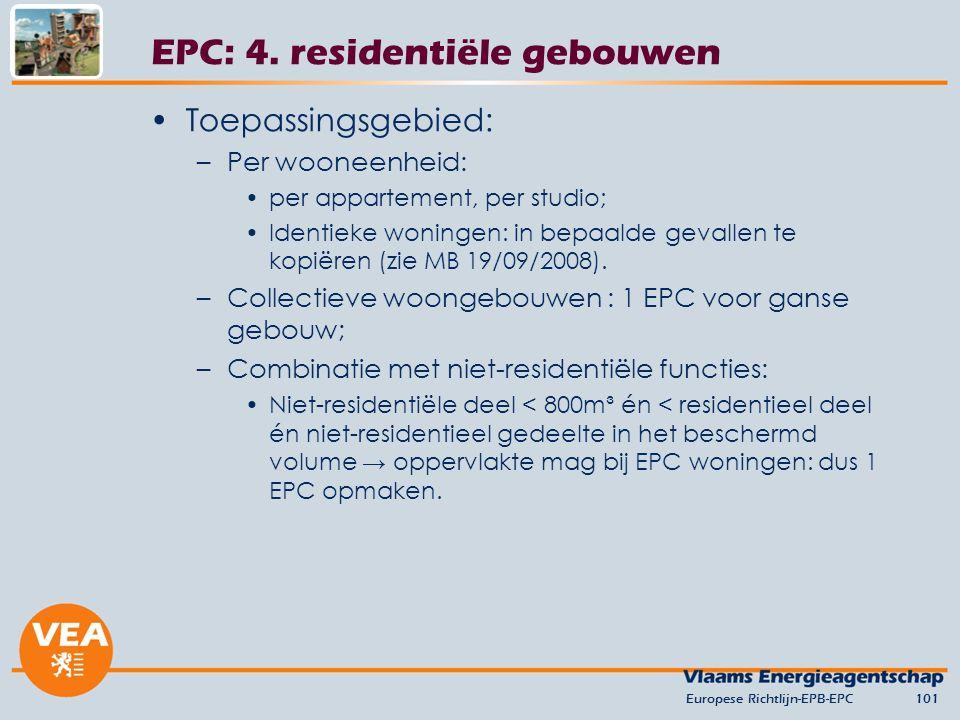 Toepassingsgebied: –Per wooneenheid: per appartement, per studio; Identieke woningen: in bepaalde gevallen te kopiëren (zie MB 19/09/2008). –Collectie