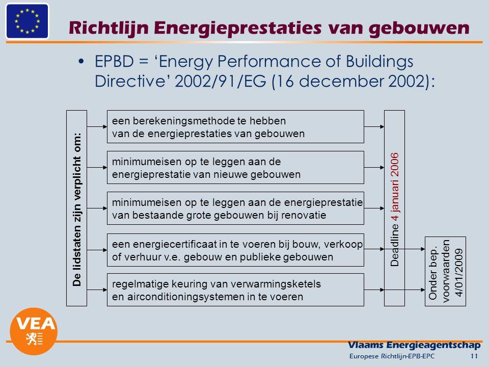 Richtlijn Energieprestaties van gebouwen EPBD = 'Energy Performance of Buildings Directive' 2002/91/EG (16 december 2002): Europese Richtlijn-EPB-EPC11 De lidstaten zijn verplicht om: een berekeningsmethode te hebben van de energieprestaties van gebouwen minimumeisen op te leggen aan de energieprestatie van nieuwe gebouwen minimumeisen op te leggen aan de energieprestatie van bestaande grote gebouwen bij renovatie een energiecertificaat in te voeren bij bouw, verkoop of verhuur v.e.