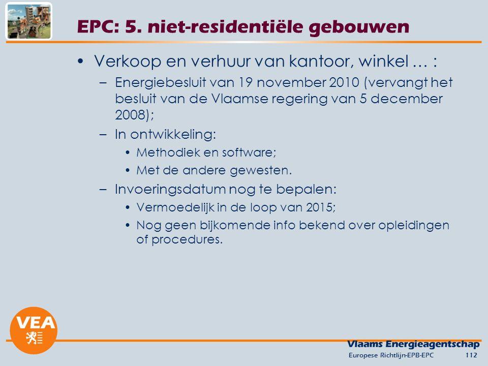 Verkoop en verhuur van kantoor, winkel … : –Energiebesluit van 19 november 2010 (vervangt het besluit van de Vlaamse regering van 5 december 2008); –In ontwikkeling: Methodiek en software; Met de andere gewesten.