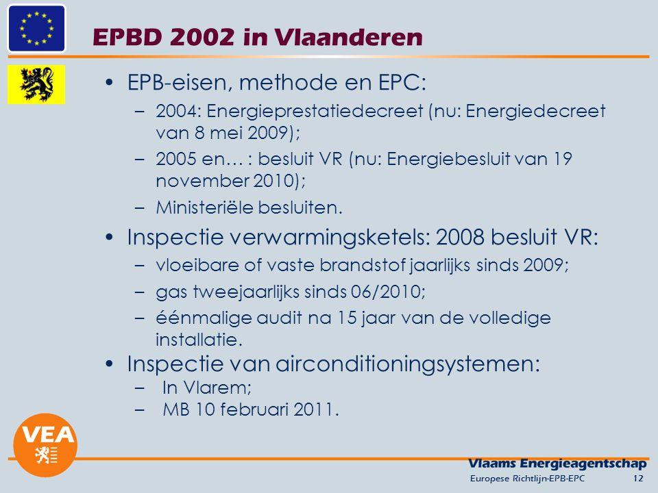 EPBD 2002 in Vlaanderen EPB-eisen, methode en EPC: –2004: Energieprestatiedecreet (nu: Energiedecreet van 8 mei 2009); –2005 en… : besluit VR (nu: Energiebesluit van 19 november 2010); –Ministeriële besluiten.
