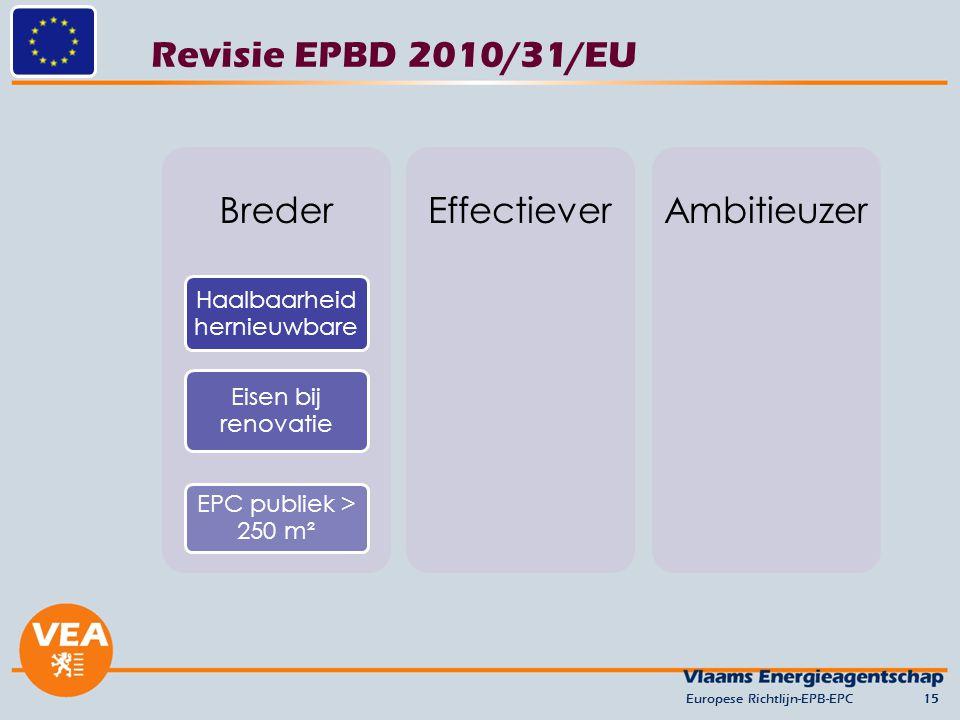 Revisie EPBD 2010/31/EU Europese Richtlijn-EPB-EPC15 Breder Haalbaarheid hernieuwbare Eisen bij renovatie EPC publiek > 250 m² EffectieverAmbitieuzer