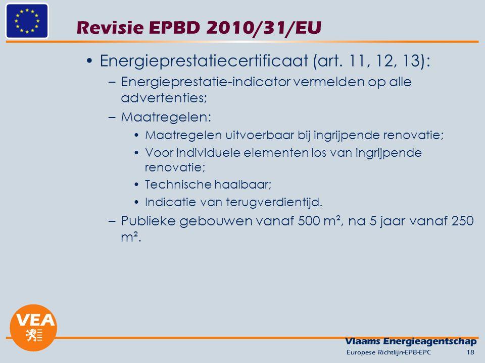 Revisie EPBD 2010/31/EU Energieprestatiecertificaat (art. 11, 12, 13): –Energieprestatie-indicator vermelden op alle advertenties; –Maatregelen: Maatr