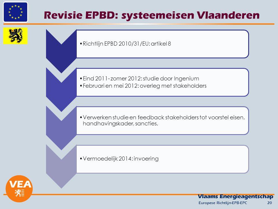 Revisie EPBD: systeemeisen Vlaanderen Europese Richtlijn-EPB-EPC20 Richtlijn EPBD 2010/31/EU: artikel 8 Eind 2011- zomer 2012: studie door Ingenium Februari en mei 2012: overleg met stakeholders Verwerken studie en feedback stakeholders tot voorstel eisen, handhavingskader, sancties.