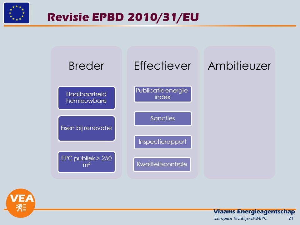 Revisie EPBD 2010/31/EU Europese Richtlijn-EPB-EPC21 Breder Haalbaarheid hernieuwbare Eisen bij renovatie EPC publiek > 250 m² Effectiever Publicatie