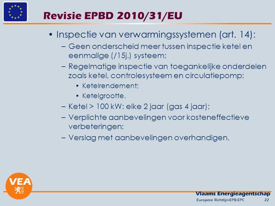 Revisie EPBD 2010/31/EU Inspectie van verwarmingssystemen (art. 14): –Geen onderscheid meer tussen inspectie ketel en eenmalige (/15j.) systeem; –Rege