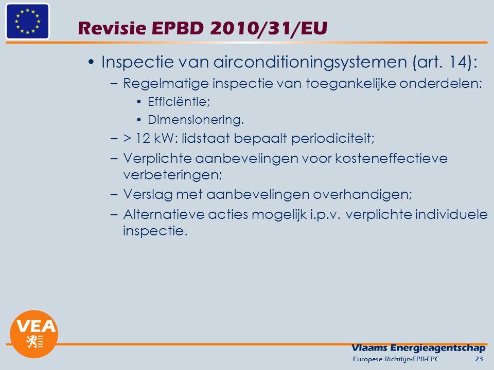 Revisie EPBD 2010/31/EU Inspectie van airconditioningsystemen (art. 14): –Regelmatige inspectie van toegankelijke onderdelen: Efficiëntie; Dimensioner