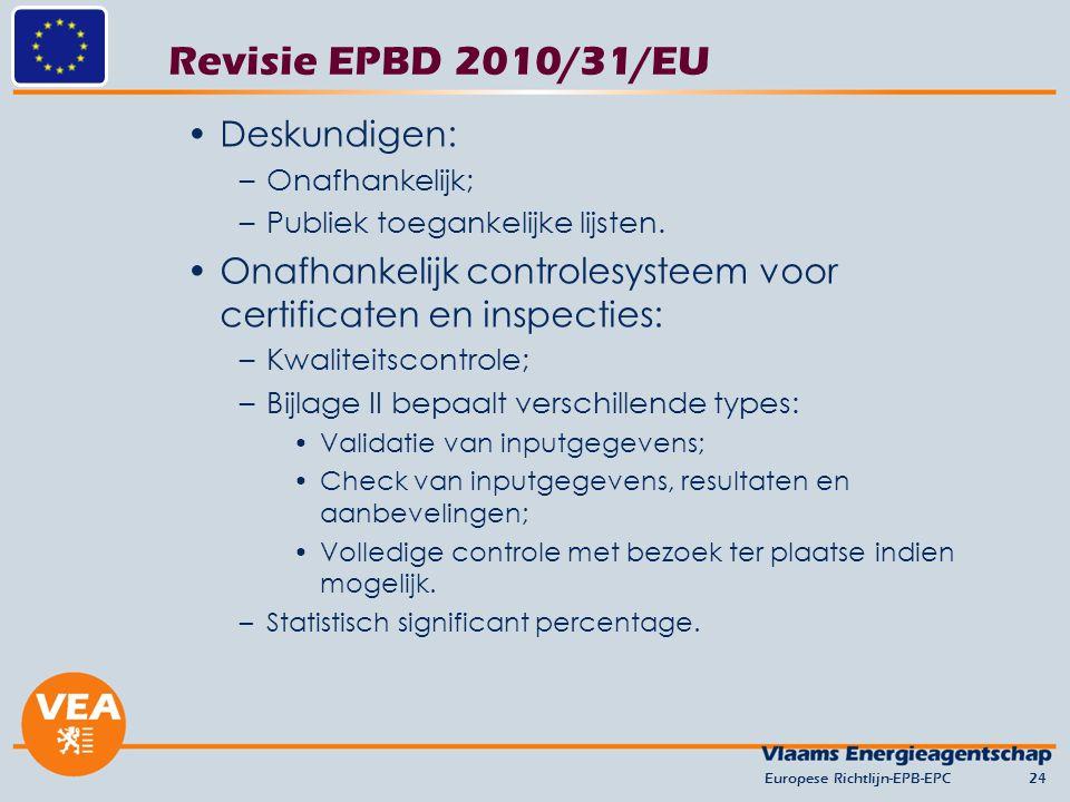 Revisie EPBD 2010/31/EU Deskundigen: –Onafhankelijk; –Publiek toegankelijke lijsten. Onafhankelijk controlesysteem voor certificaten en inspecties: –K