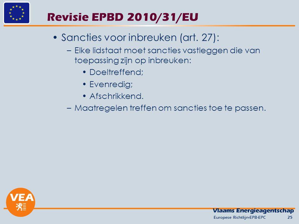 Revisie EPBD 2010/31/EU Sancties voor inbreuken (art. 27): –Elke lidstaat moet sancties vastleggen die van toepassing zijn op inbreuken: Doeltreffend;