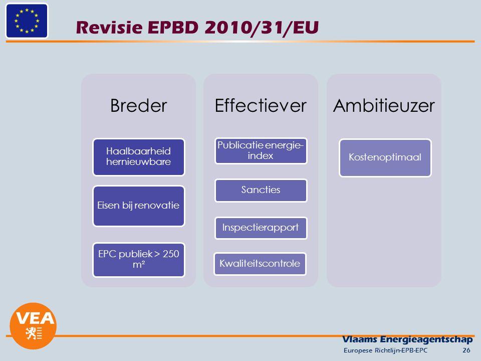 Revisie EPBD 2010/31/EU Europese Richtlijn-EPB-EPC26 Breder Haalbaarheid hernieuwbare Eisen bij renovatie EPC publiek > 250 m² Effectiever Publicatie