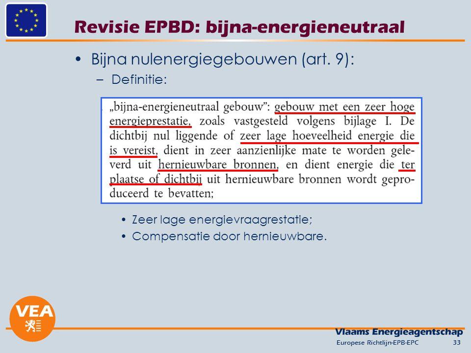 Revisie EPBD: bijna-energieneutraal Bijna nulenergiegebouwen (art. 9): –Definitie: Zeer lage energievraagrestatie; Compensatie door hernieuwbare. Euro