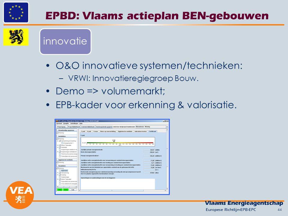 EPBD: Vlaams actieplan BEN-gebouwen O&O innovatieve systemen/technieken: –VRWI: Innovatieregiegroep Bouw. Demo => volumemarkt; EPB-kader voor erkennin