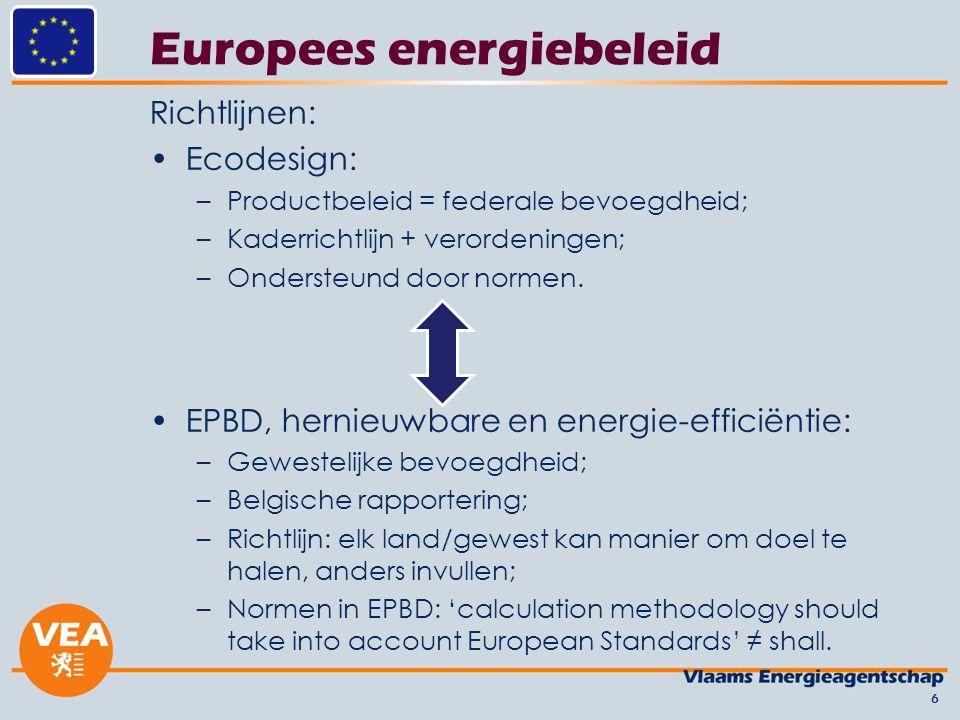 Europees energiebeleid Richtlijnen: Ecodesign: –Productbeleid = federale bevoegdheid; –Kaderrichtlijn + verordeningen; –Ondersteund door normen. EPBD,