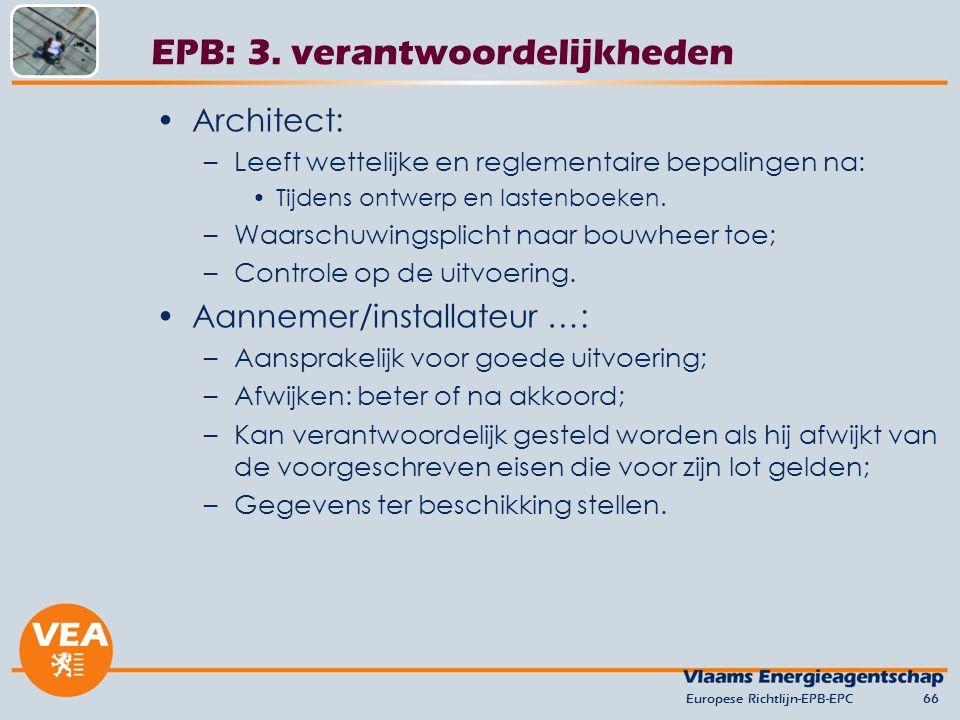 Architect: –Leeft wettelijke en reglementaire bepalingen na: Tijdens ontwerp en lastenboeken.