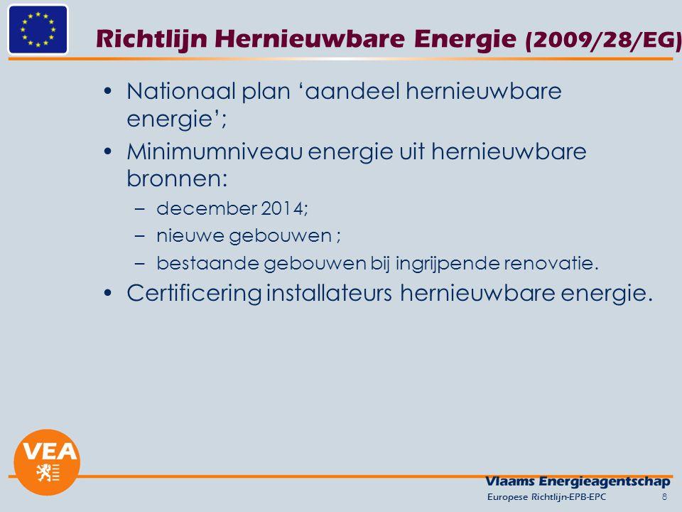 Richtlijn Hernieuwbare Energie (2009/28/EG) Nationaal plan 'aandeel hernieuwbare energie'; Minimumniveau energie uit hernieuwbare bronnen: –december 2014; –nieuwe gebouwen ; –bestaande gebouwen bij ingrijpende renovatie.