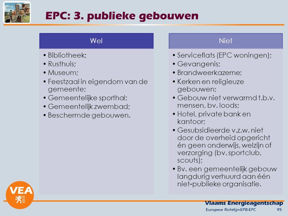 Europese Richtlijn-EPB-EPC95 EPC: 3. publieke gebouwen Wel Bibliotheek; Rusthuis; Museum; Feestzaal in eigendom van de gemeente; Gemeentelijke sportha