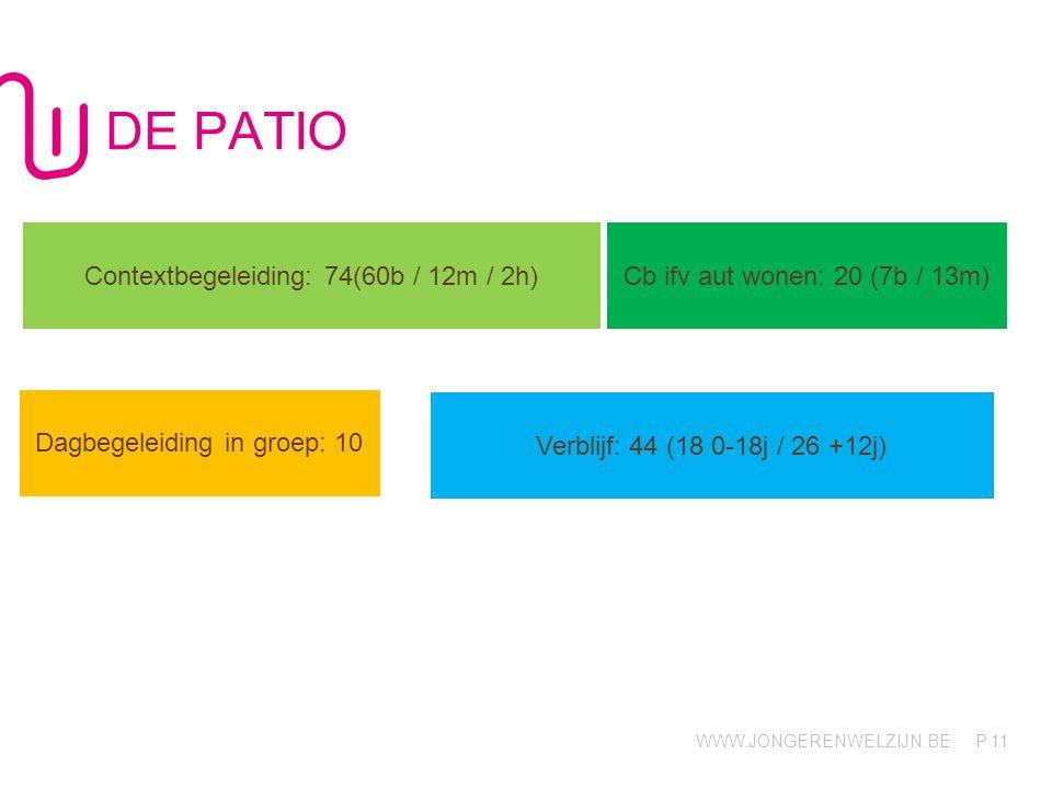 WWW.JONGERENWELZIJN.BE P DE PATIO 11 Contextbegeleiding: 74(60b / 12m / 2h) Cb ifv aut wonen: 20 (7b / 13m) Dagbegeleiding in groep: 10 Verblijf: 44 (18 0-18j / 26 +12j)