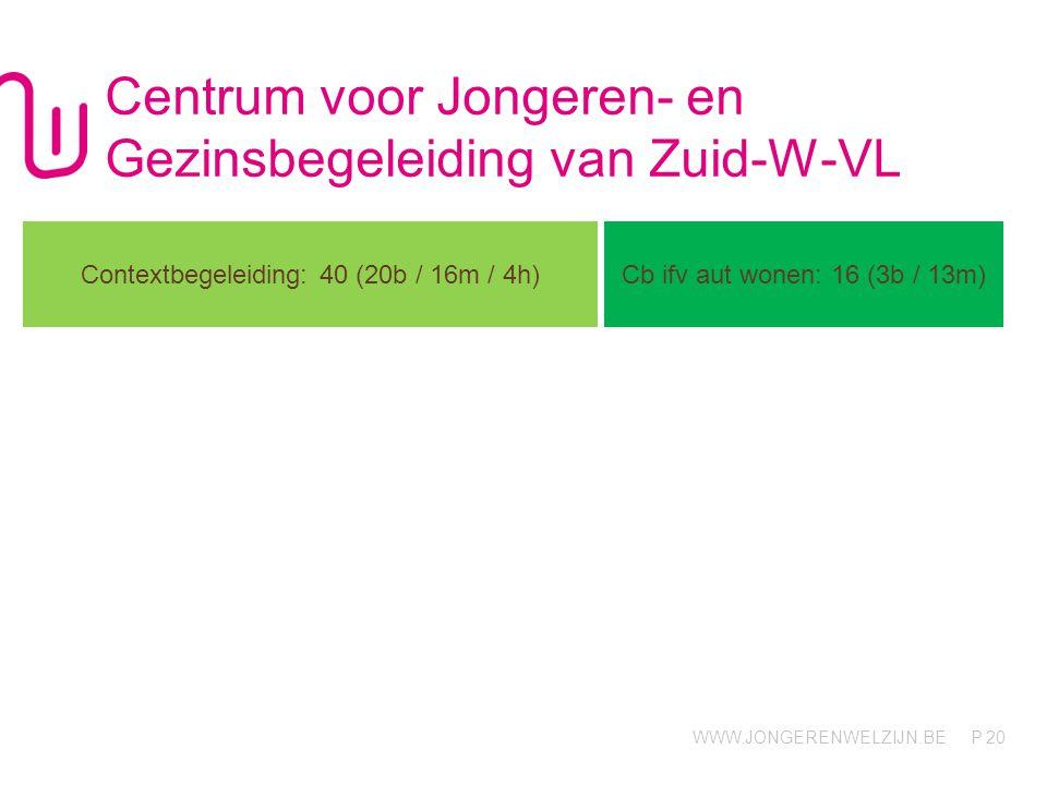 WWW.JONGERENWELZIJN.BE P Centrum voor Jongeren- en Gezinsbegeleiding van Zuid-W-VL 20 Contextbegeleiding: 40 (20b / 16m / 4h) Cb ifv aut wonen: 16 (3b / 13m)