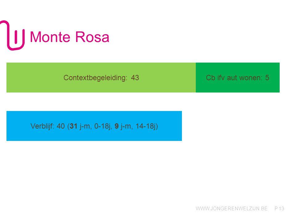 WWW.JONGERENWELZIJN.BE P Monte Rosa 13 Contextbegeleiding: 43Cb ifv aut wonen: 5 Verblijf: 40 (31 j-m, 0-18j, 9 j-m, 14-18j)