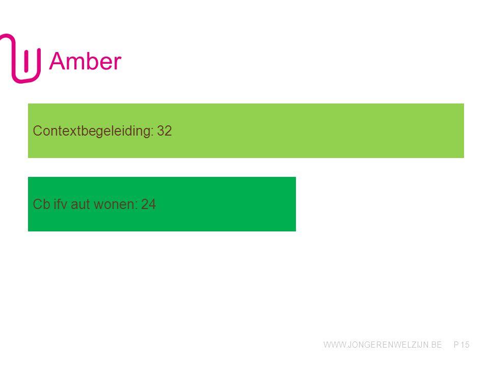 WWW.JONGERENWELZIJN.BE P Amber 15 Contextbegeleiding: 32 Cb ifv aut wonen: 24