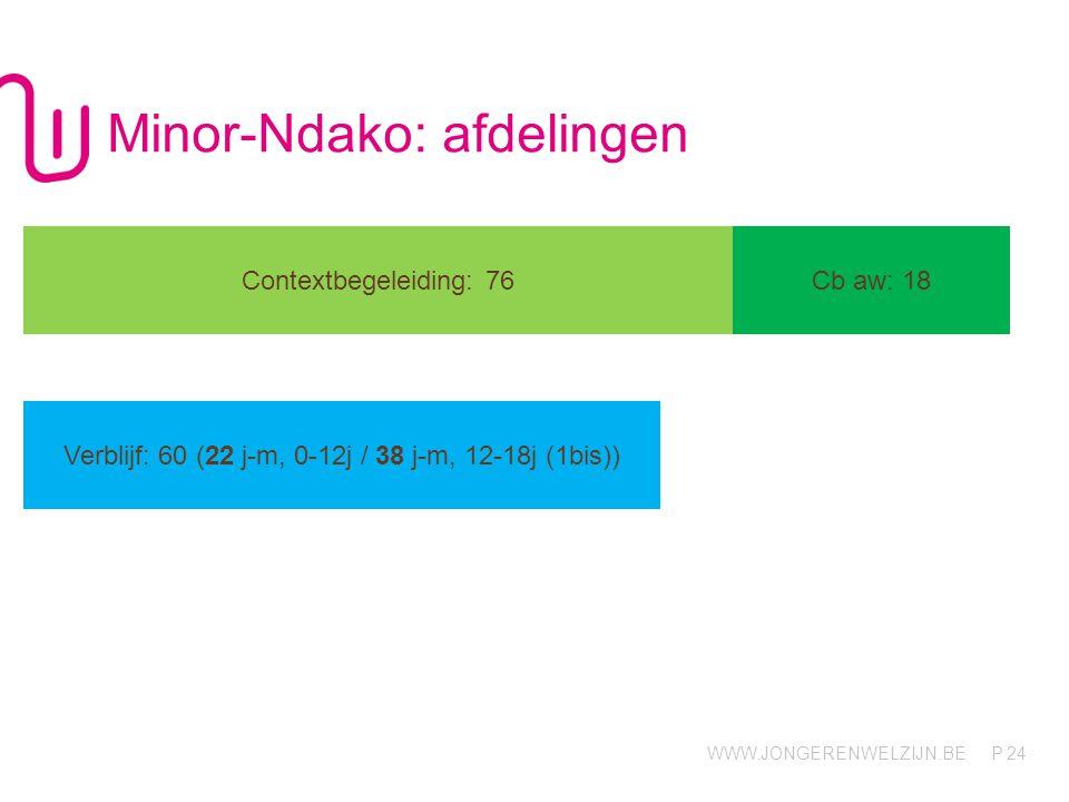 WWW.JONGERENWELZIJN.BE P Minor-Ndako: afdelingen 24 Contextbegeleiding: 76Cb aw: 18 Verblijf: 60 (22 j-m, 0-12j / 38 j-m, 12-18j (1bis))