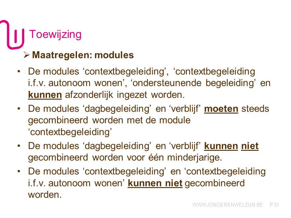 WWW.JONGERENWELZIJN.BE P Toewijzing 31  Maatregelen: modules De modules 'contextbegeleiding', 'contextbegeleiding i.f.v. autonoom wonen', 'ondersteun
