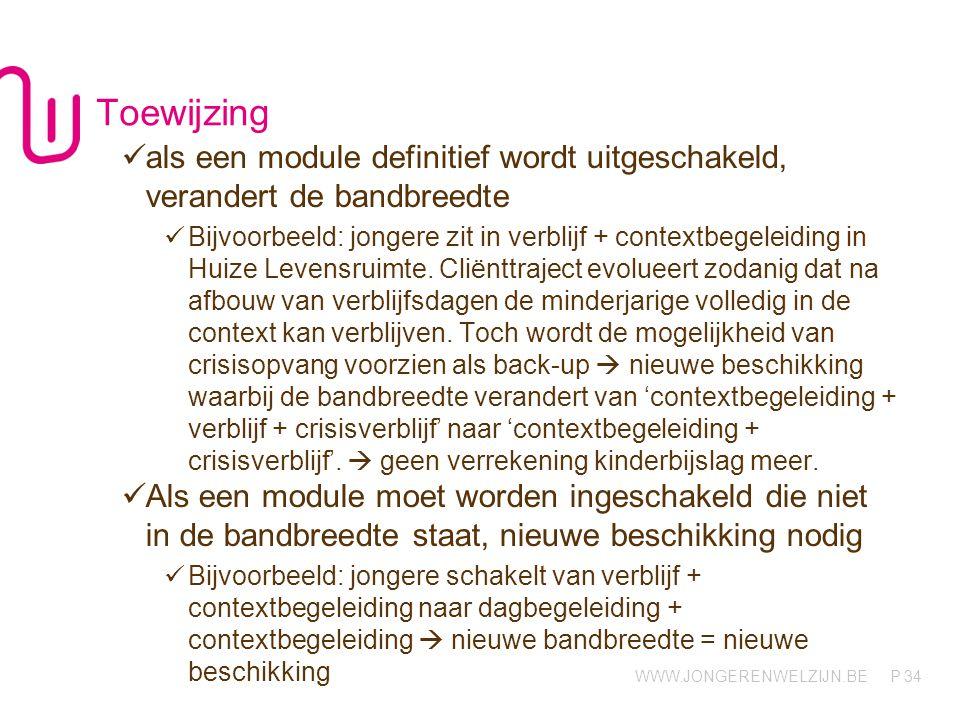 WWW.JONGERENWELZIJN.BE P Toewijzing 34 als een module definitief wordt uitgeschakeld, verandert de bandbreedte Bijvoorbeeld: jongere zit in verblijf +