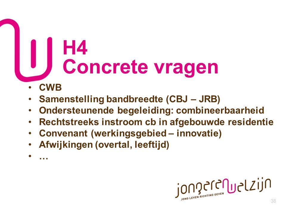 38 H4 Concrete vragen CWB Samenstelling bandbreedte (CBJ – JRB) Ondersteunende begeleiding: combineerbaarheid Rechtstreeks instroom cb in afgebouwde r