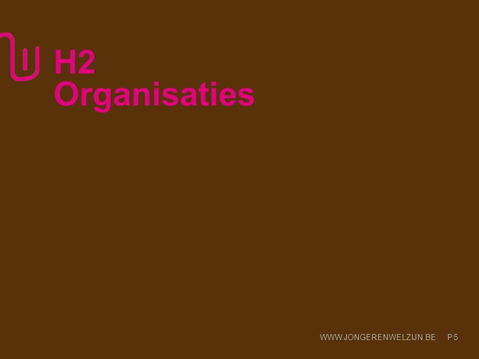 WWW.JONGERENWELZIJN.BE P 5 H2 Organisaties