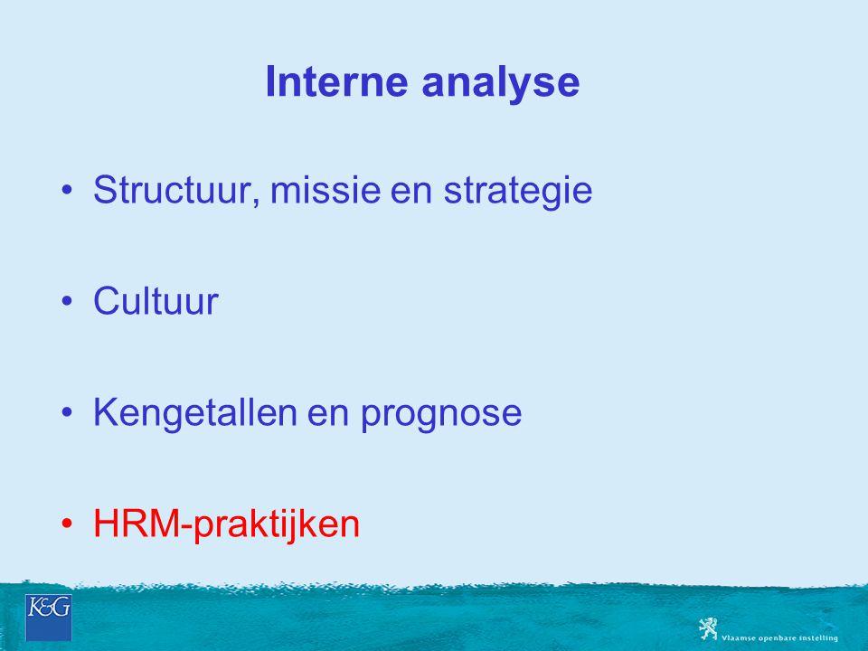 Interne analyse Structuur, missie en strategie Cultuur Kengetallen en prognose HRM-praktijken