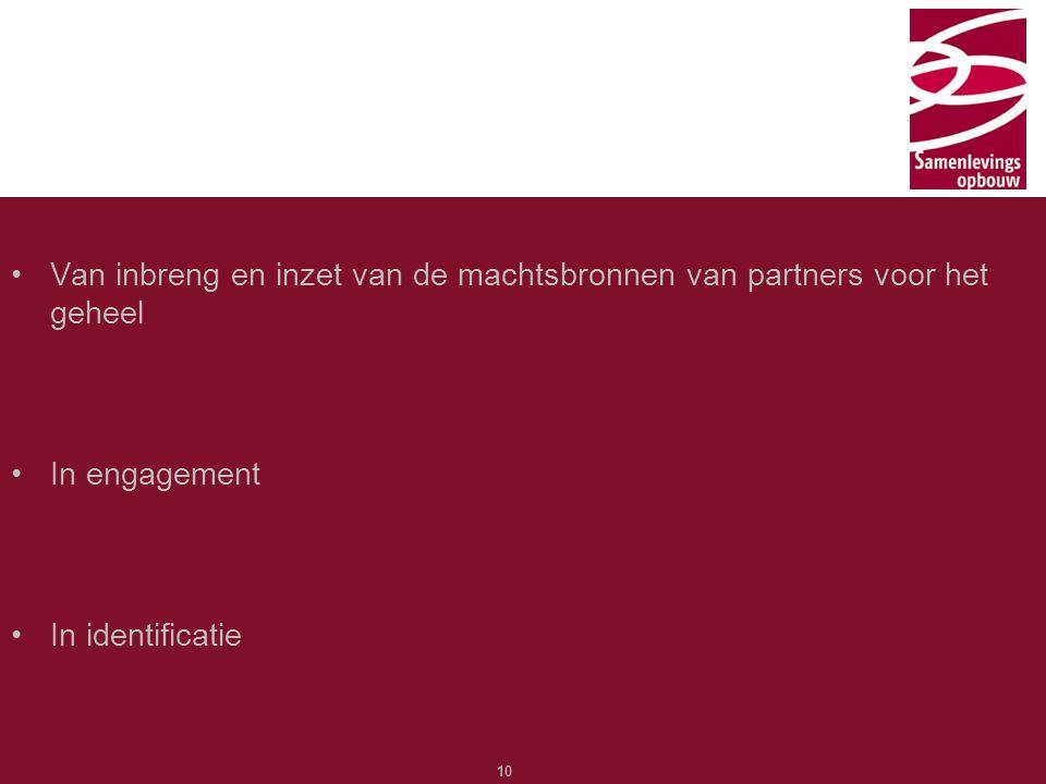 Typ hier de titel 10 Van inbreng en inzet van de machtsbronnen van partners voor het geheel In engagement In identificatie