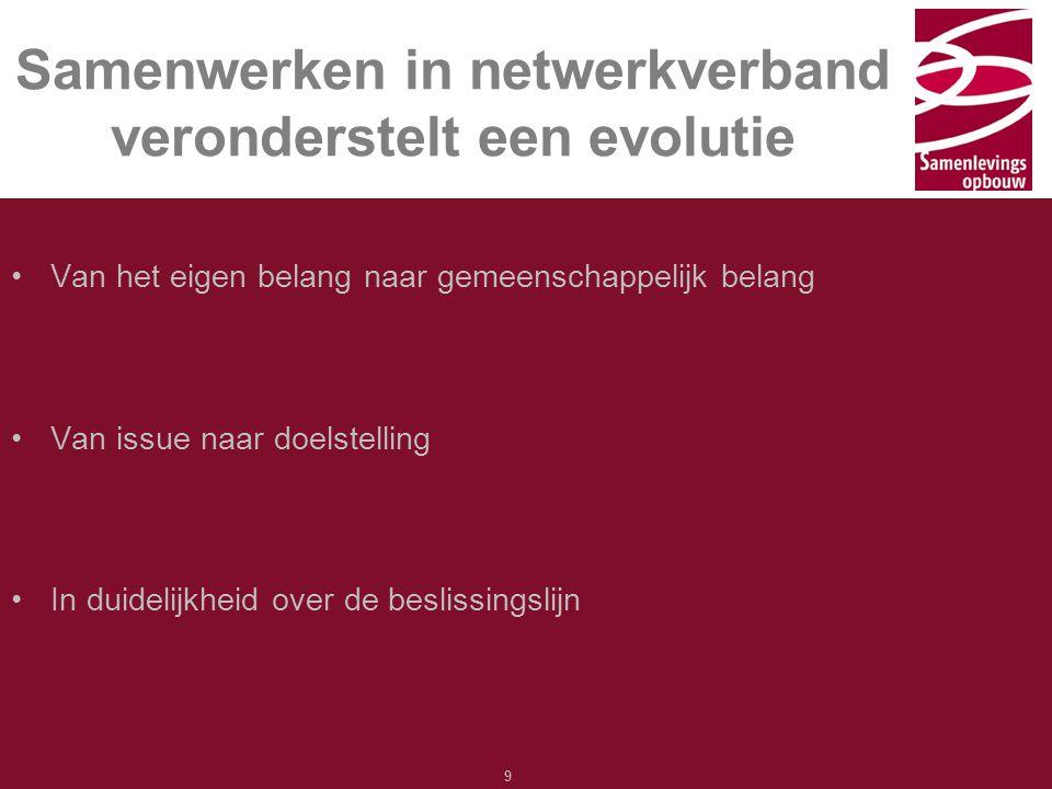 Typ hier de titel 9 Samenwerken in netwerkverband veronderstelt een evolutie Van het eigen belang naar gemeenschappelijk belang Van issue naar doelste